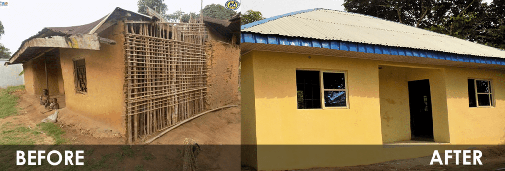 Pic 1 Before: Dilapidated house of Mrs Offiong; Pic 2 After: New Edifice after construction